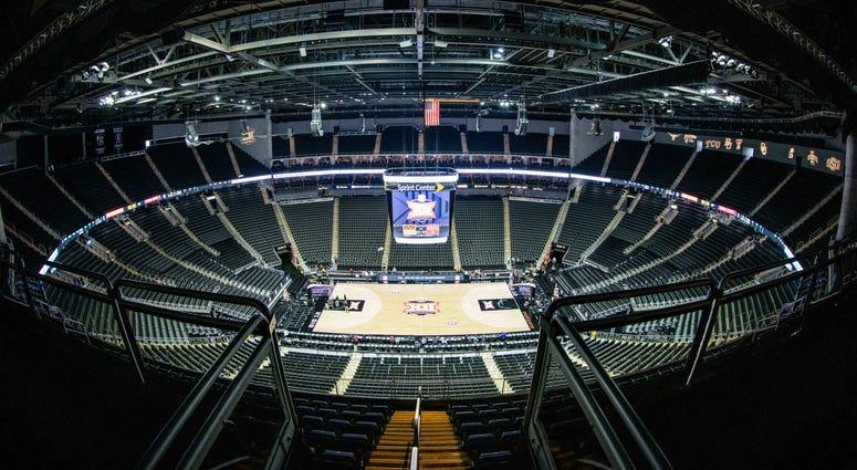 Empty Sprint Center for 2020 Big 12 Basketball Tournament.