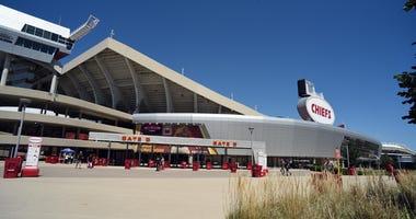 Exterior shot of Arrowhead Stadium in Kansas City