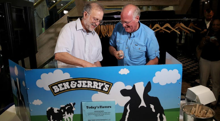Founders of Ben and Jerry's scoop ice cream