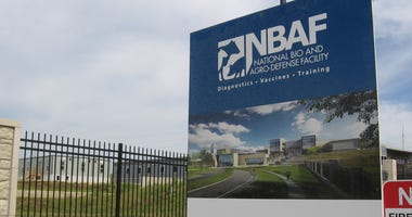 A sign outside the construction site for the National Bio and Agro-defense Facility in Manhattan, Kansas