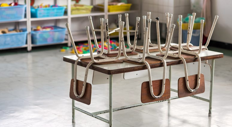 classroom chairs on top of a table