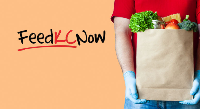 Gloved man holds bag of groceries with the words FeedKCNow