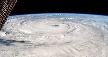 A hurricane seen from space.