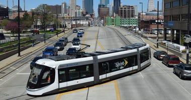The Kansas City Streetcar turns near Union Station