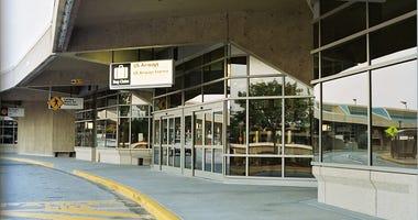 Empty curbs at Kansas City International Airport