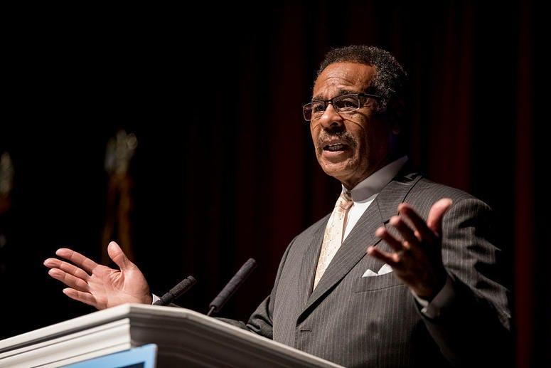 KANSAS CITY, MO - NOVEMBER 08: U.S. Rep. Emanuel Cleaver (D-MO) speaks to supporters of Jason Kander, Democratic candidate for U.S. Senate in Missouri, at Uptown Theater on November 8, 2016 Kansas City, Missouri. Congressman Cleaver won his re-election ov