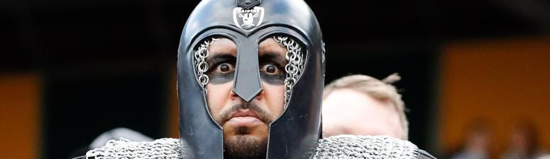 Dec 15, 2019; Oakland, CA, USA; A costumed Oakland Raiders fan poses for a photo during the first quarter of the game between the Oakland Raiders and the Jacksonville Jaguars at Oakland Coliseum. Mandatory Credit: Darren Yamashita-USA TODAY Sports