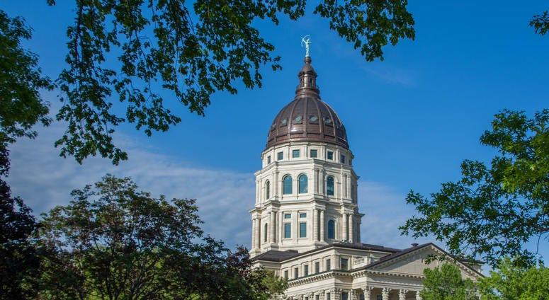 Exterior shot of Kansas State Capitol building
