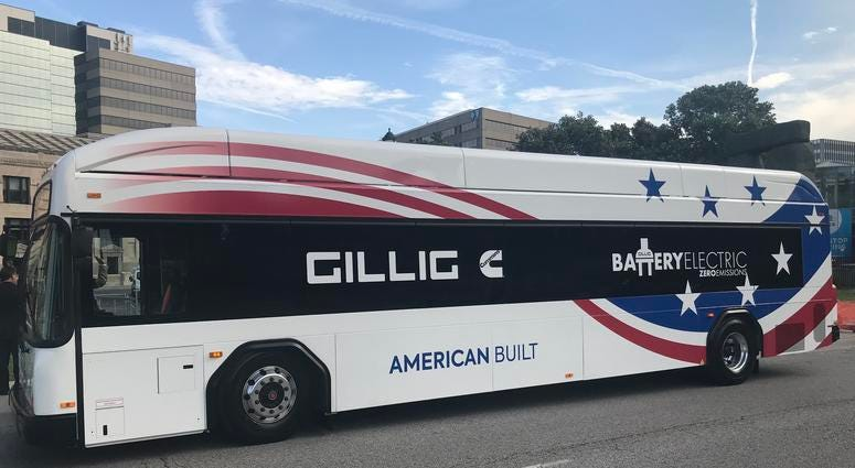 Electric bus sits on display in Kansas City