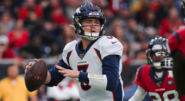 Dec 8, 2019; Houston, TX, USA; Denver Broncos quarterback Drew Lock (3) attempts a pass during the second quarter against the Houston Texans at NRG Stadium. Troy Taormina-USA TODAY Sports