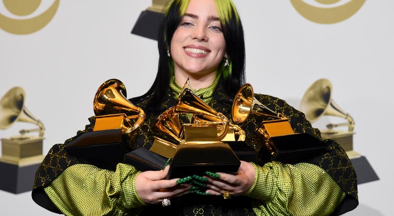 Billie Eilish, a voice of the youth, tops the Grammy Awards