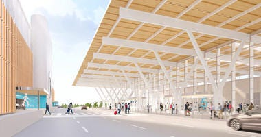 Artists rendition of the new terminal at Kansas City International Airport.