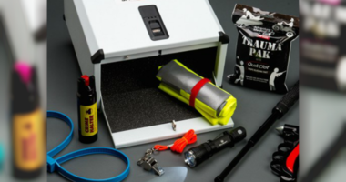 A classroom safety kit with items displayed