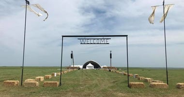 An entrance to the symphony performance in the flint hills