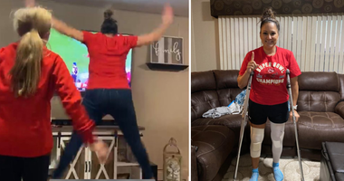 Chiefs fan Crystal Tipton seen on left jumping for joy at Super Bowl win, and on right on crutches