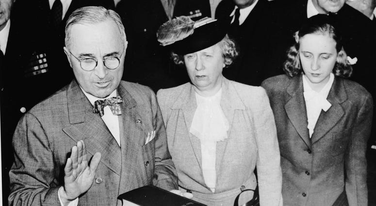 Harry S. Truman sworn in as 33rd president after death of FDR