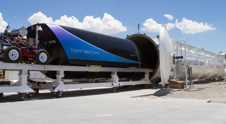 Virgin Hyperloop test site with pod and tube