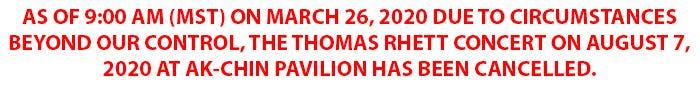 Thomas Rhett Phoenix Show Cancelled