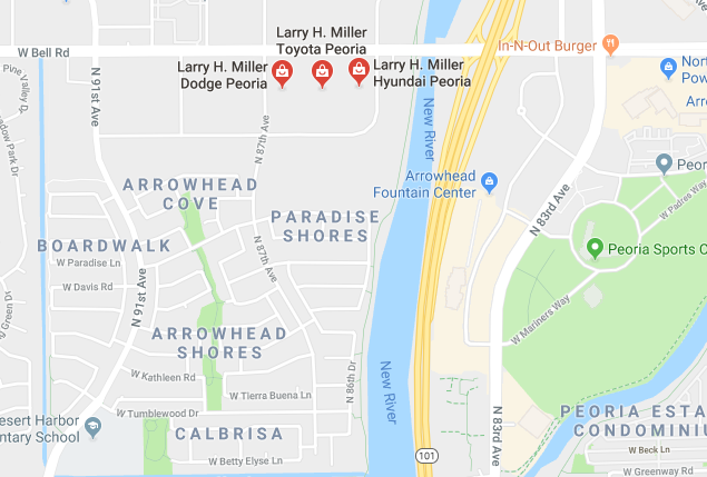 Map of Larry H Miller Peoria Dealerships