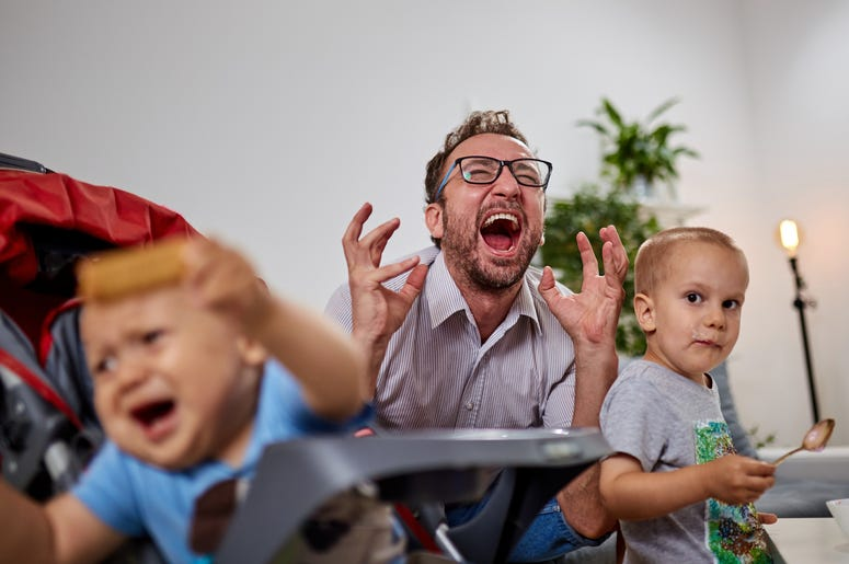 Single dad going nuts at home with two boys from Getty