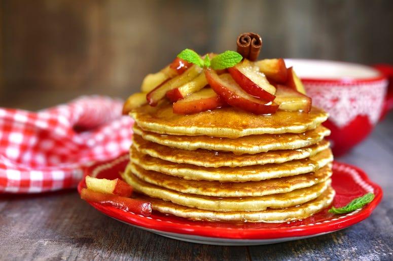 Denny's apple bourbon pancakes, denny's, denny's pancakes, denny's grandslam,