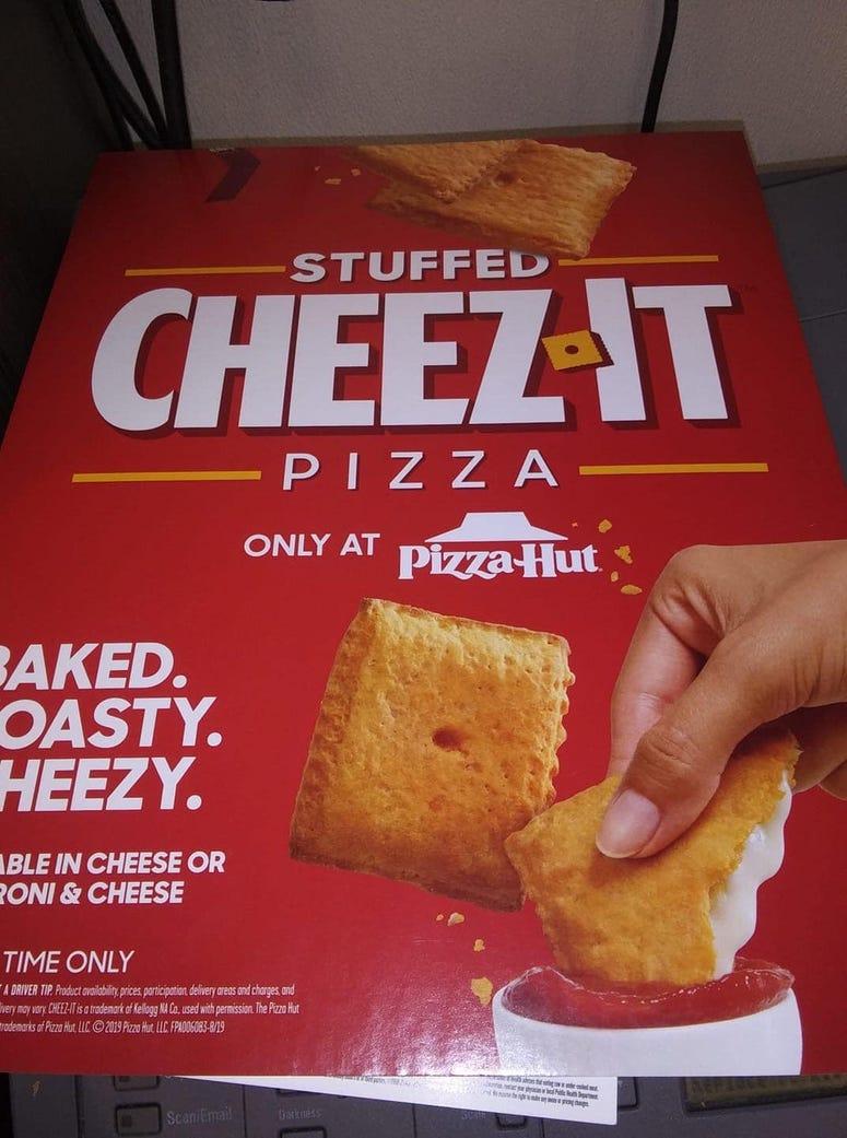pizza hut, pizza hut cheez-it pizza, cheez-it pizza