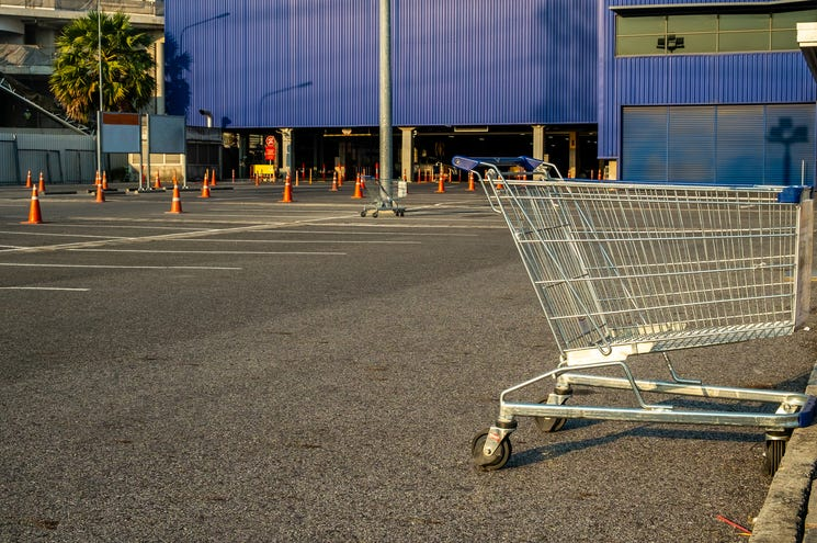 Shopping carts in parking lots