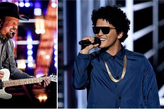 Garth Brooks, Bruno Mars, Garth brooks cried at a bruno mars concert