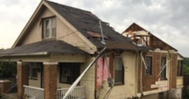 Jefferson City home damaged from tornado