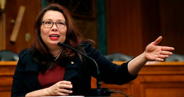 In this Feb. 14, 2018, photo, Sen. Tammy Duckworth, D-Ill., speaks to Goldman Sachs 10,000 Small Businesses Summit, on Capitol Hill, in Washington.