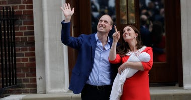 Britain's Prince William and Kate, Duchess of Cambridge pose for a photo with their newborn baby son as they leave the Lindo wing at St Mary's Hospital in London London, Monday, April 23, 2018.
