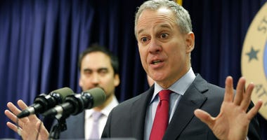 In this March 21, 2016, file photo, New York Attorney General Eric Schneiderman speaks during a news conference in New York. Schneiderman, who had taken on high-profile roles as an advocate for women's issues and an antagonist to the policies of Presiden