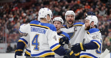 St. Louis Blues celebrate goal