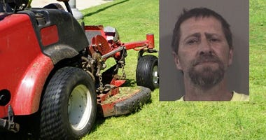 Barry Ridge, 46, was arrested Saturday, May 5, 2018, and charged with operating a lawn mower while intoxicated.