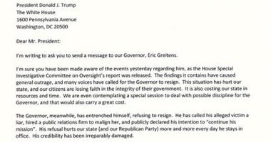 screenshot of typed letter to Donald Trump from Senator Rob Schaaf