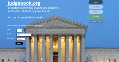 screenshot or judgebook.org homepage, courthouse and menu