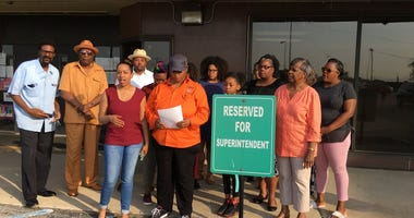 """Supporters of the East St. Louis High School track team say they want to begin  the superintendent's day with a message. """"Reinstate the team""""."""