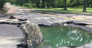 The water main break on Lindell Ave. in July 2019
