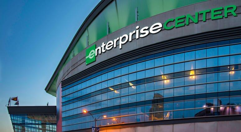 Rendering of Enterprise Center exterior view.