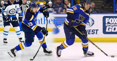 Blues forwards Jordan Kyrou and Robby Fabbri.