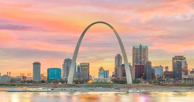 St. Louis city skyline with Gateway Arch