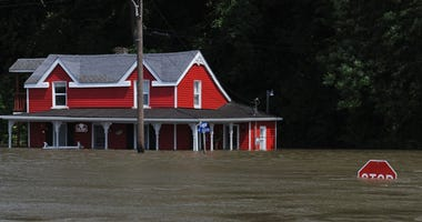 June 2019 flooding along Mississippi River in Grafton, Illinois