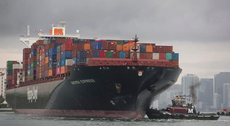 The Bremen Express cargo ship prepares to dock at PortMiami