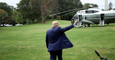 U.S. President Donald Trump waves while departing the White House on October 03, 2019 in Washington, DC.