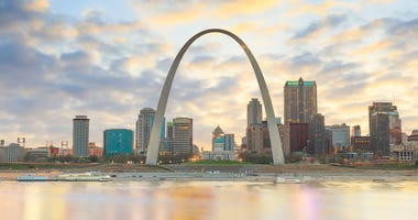 St. Louis riverfront and Gateway Arch