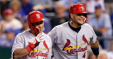 Kolten Wong and Yadier Molina of the St. Louis Cardinals