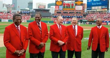Lou Brock, Bob Gibson, Red Schoendienst, Whitey Herzog and Ozzie Smith