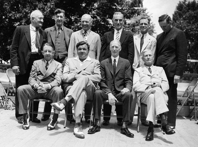 these baseball stars were pictured as they attended the dedication and their induction into the Baseball Hall of Fame in Cooperstown, N.Y.