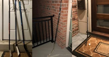 NHL players and Blues almuni share photos of hockey sticks on their porch.