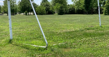A soccer field in Illinois sits empty during the coronavirus pandemic
